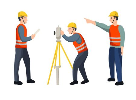 Set of cartoon characters working surveyors isolated on white background. The concept of geodesy. Flat vector illustration. Vektoros illusztráció