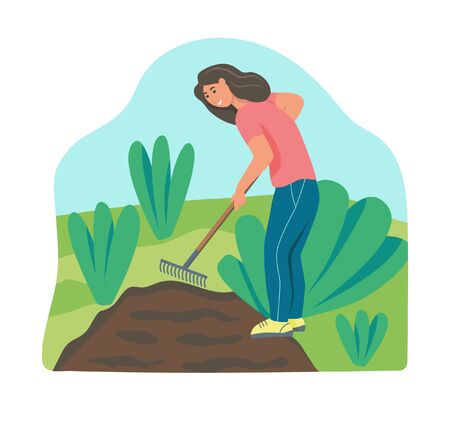 Garden work. A young woman is working in the garden, raking the ground. Flat vector illustration.