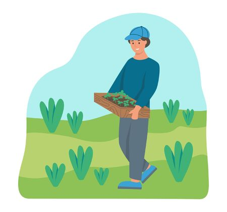 Gardening on the farm. A young man works in the garden, a farmer carries a box of seedlings. Flat cartoon vector illustration.