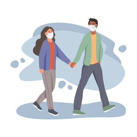 Man and woman in protective face dust masks. People wearing protection from urban air pollution, smog, vapor. Coronavirus quarantine, respiratory virus concept. Flat cartoon vector illustration.