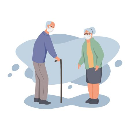 Man and woman in protective face dust masks. Old people wearing protection from urban air pollution, smog, vapor. Coronavirus quarantine, respiratory virus concept. Flat cartoon vector illustration. 矢量图像