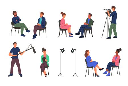 Recording a journalistic interview in the Studio. People sit on chairs, a videographer, a man holding a microphone, spotlights. Characters are isolated on a white background. Flat cartoon vector illustration.