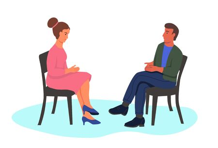 A young man and woman sit in chairs opposite each other. Characters isolated on a white background. The concept of Dating, psychotherapy, interviews. Flat vector illustration.