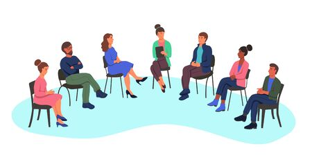Men and women at a psychologist's appointment, the concept of group therapy, working in a group, a survey. People sit on chairs in a semicircle. Flat cartoon vector illustration. Vektorové ilustrace