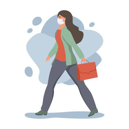 Woman in protective face dust masks. People wearing protection from urban air pollution, smog, vapor. Coronavirus quarantine, respiratory virus concept. Flat cartoon vector illustration.