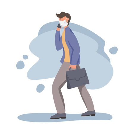 Man in protective face dust masks. People wearing protection from urban air pollution, smog, vapor. Coronavirus quarantine, respiratory virus concept. Flat cartoon vector illustration.