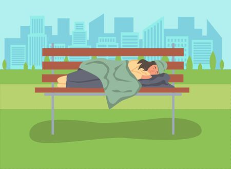 A homeless woman sleeps on a Park bench. The concept of poverty, misery, unemployment, volunteers. Flat cartoons vector illustration. Illustration