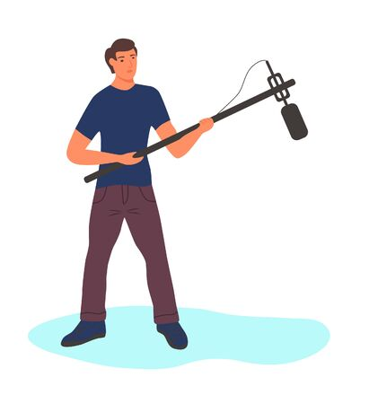 A full-length man with a long microphone. Character isolated on a white background. Flat cartoon vector illustration.