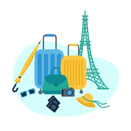 Road composition of suitcases on the background of the Eiffel tower. Suitcases, umbrella, hat, bag, passports, sunglasses, camera combined. Flat vector illustration.