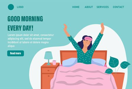 Good morning every day. Website homepage landing web page template. A young woman wakes up. The concept of daily life, everyday leisure and work activities. Flat cartoon vector illustration.