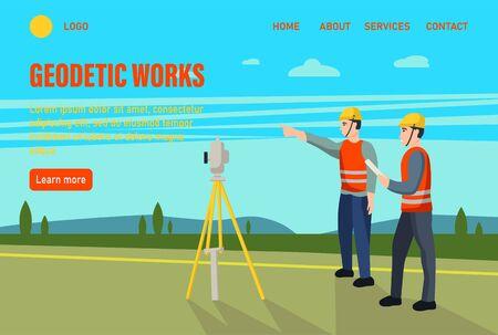 Geodetic works. Website homepage landing web page template.Concept land surveyors. Ð¡adastral engineer, cartographer, cartoon character. Flat vector illustration. Vektoros illusztráció
