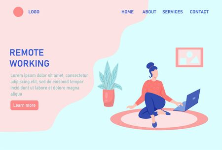 A young woman is working on a laptop and sitting on the floor. Concept freelance, remote work, work from home, self-isolation, quarantine, entertainment. Website homepage landing web page template.