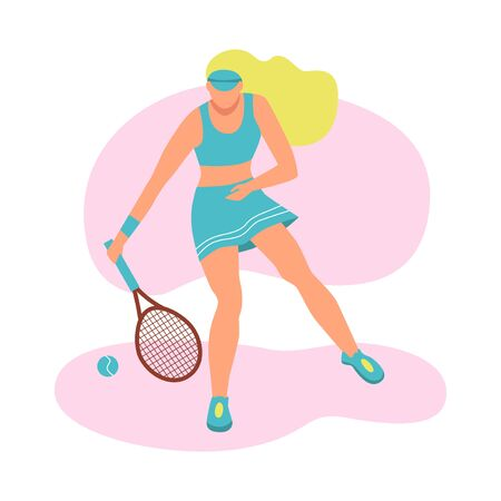 A young woman playing tennis. A flat character. Vector illustration. Vectores