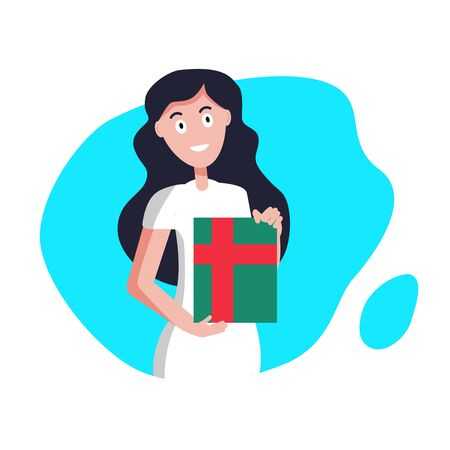 Woman is holding a gift on a turquoise background, flat design, vector illustration. Иллюстрация