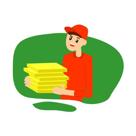 Pizza delivery man, simple vector illustration, flat design.
