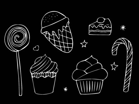 Candy bar doodle set. Isolated elements on black background. Vector illustration.