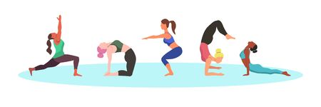 Set of characters - women doing yoga - flat vector illustration.