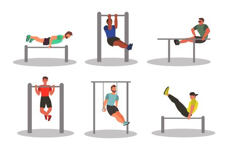 Set of characters -  Men taking physical activity. Training, street workout, exercises. Active sports in a city park on the playground. Flat style vector illustration. Ilustração
