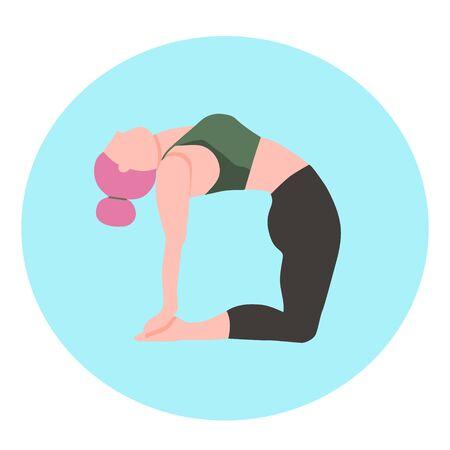 Cartoon character - woman doing yoga - flat vector illustration.