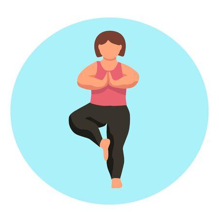 Character  - curvy woman doing yoga - vector flat illustration. Body positive.