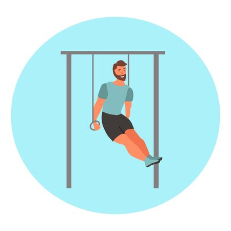 Man taking physical activity in outdoor park. Training, street workout, exercises. Active sports in a city park on the playground. Flat style vector illustration. Ilustração