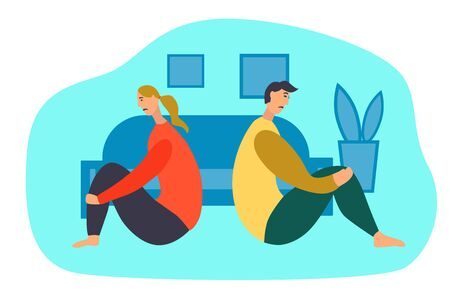 The concept of divorce. Sad man and woman in a quarrel sitting on the floor. Vector flat illustration.