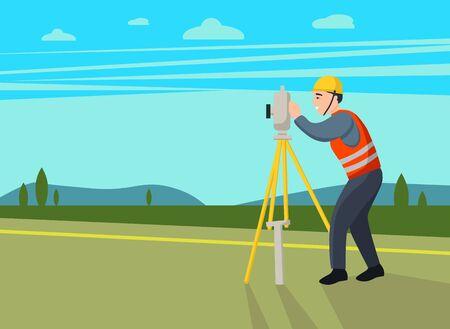 Concept land surveyors. ?adastral engineer, cartographer, cartoon character. Vector flat illustration. Ilustración de vector
