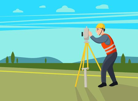 Concept land surveyors. ?adastral engineer, cartographer, cartoon  character. Vector flat illustration.  イラスト・ベクター素材