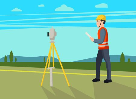 Concept land surveyors. Ð¡adastral engineer, cartographer, cartoon  character. Vector flat illustration.