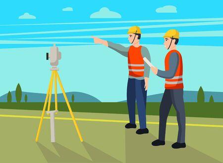 Concept land surveyors. Ð¡adastral engineer, cartographer, cartoon character. Vector flat illustration.