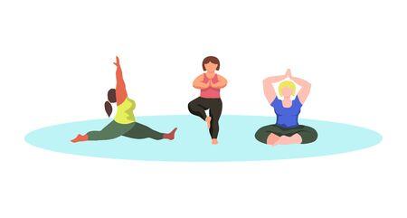 Character set - curvy women doing yoga - vector flat illustration. Bodypositive concept