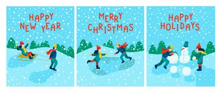 Set of greeting Christmas cards. Happy New Year, merry Christmas, Happy holidays. Children skate, sculpt a snowman, sledding. Flat vector illustration.