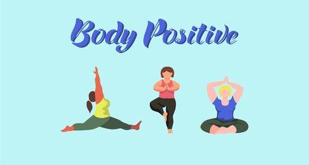 Body positive concept. Curvy women doing yoga. Plus size models. Flat vector illustration