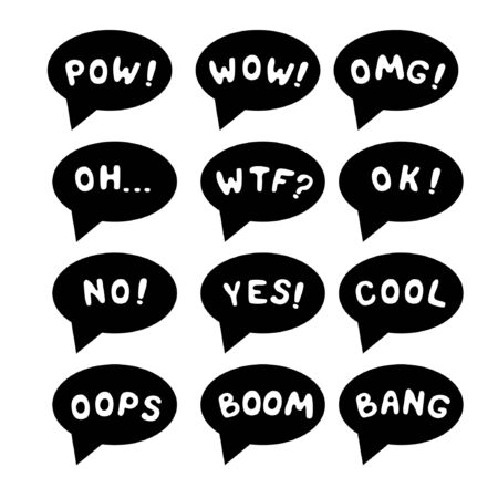 Vector illustration. Comic sound set isolated. Pow, wow, omg, oh, wtf, ok, no, yes, cool, oops, boom, bang lettering.