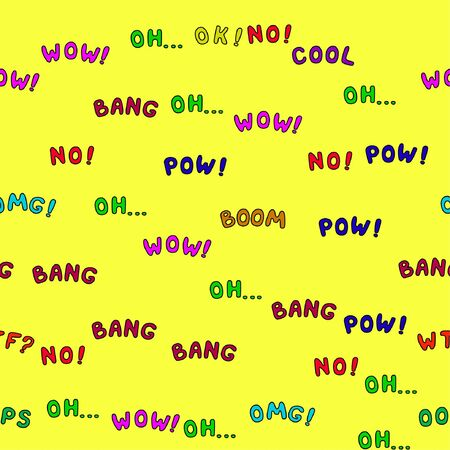Vector illustration. Pow, wow, omg, oh, wtf, ok, no, yes, cool, oops, boom, bang lettering seamless pattern.