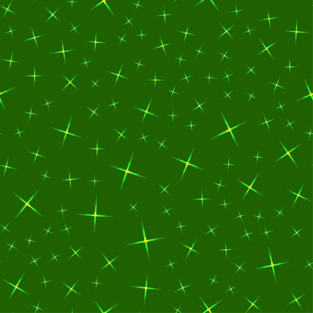 Vector illustration. Seamless pattern. Glowing stars of different sizes on a green background.