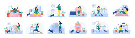 Set of daily routines. The concept of daily life, everyday leisure and work activities. Flat vector illustration.