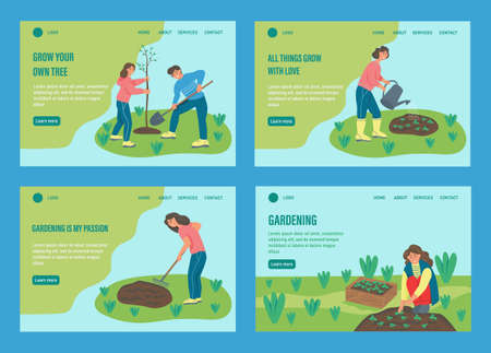 Set of templates. People are engaged in gardening. Website homepage landing web page template. A flat character. Vector illustration.