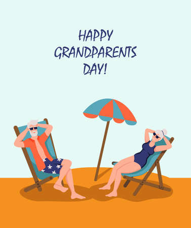 Happy Grandparents day greeting card. Elderly couple sunbathing on the beach. Cheerful grandmother and grandfather cartoon characters. Day of the elderly. Flat vector illustration.