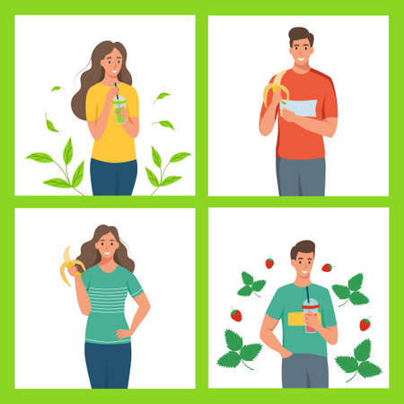 A set of characters of a healthy lifestyle. Young men and women eat fruit and drink smoothies. Flat cartoon vector illustration. Ilustrace