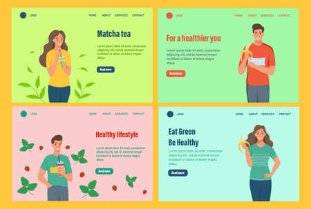 Landing page vector template. A set of characters of a healthy lifestyle. Young men and women eat fruit and drink smoothies. Flat cartoon vector illustration. Ilustrace