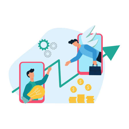The concept of a business angel, angel investor. Help for a startup, a young businessman. Financial support for young businesses. Flat cartoon vector illustration.