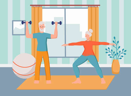 An elderly couple plays sports at home. The concept of active old age, sports, and yoga. Day of the elderly. Flat cartoon vector illustration.