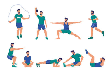 A set of young men playing sports. Squats, push-ups, plank, meditation, yoga, stretching. Sports at home, street workout, healthy lifestyle. Flat cartoon vector illustration.