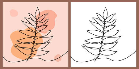 Autumn leaf - One continuous line, single line drawing art, organic design, abstract line with random irregular shape spots and black and white version. Vector illustration for postcard or web