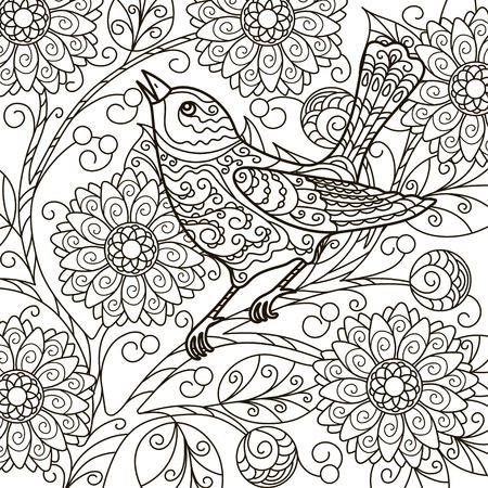 Contorno, Ilustración, Abstracción, Rama Flor, Pájaro En Una Rama ...