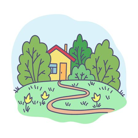 footpath: vector, illustration, abstraction, nature, house, footpath, garden, holiday, flowers, design element, summer Illustration