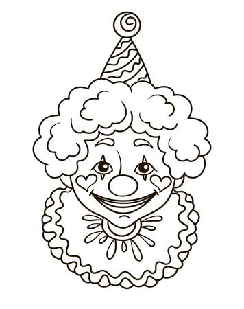 Contorno Ilustración Libro Para Colorear Payaso Cara Sonrisa