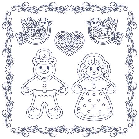 Conjunto De Contornos Dibujo Mano Tiza De La Galleta De Navidad ...
