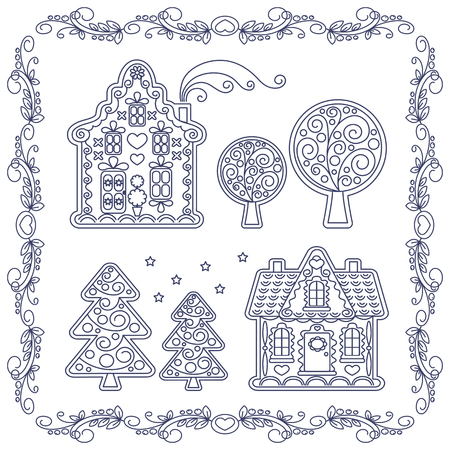 hamlet: illustration Coloring book Christmas gingerbread houses